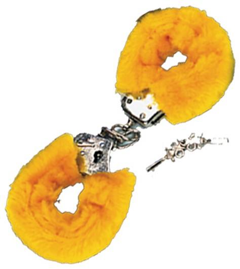 Pouta PLYŠOVÁ kovová žlutá (Pouta PLYŠOVÁ kovová žlutá)