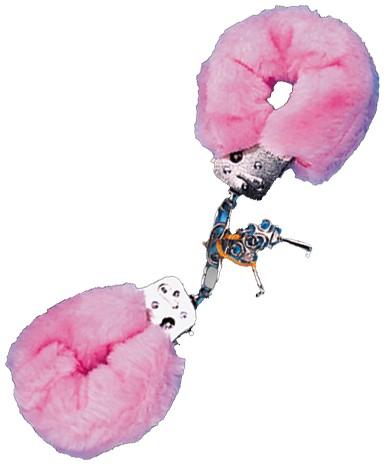 Pouta PLYŠOVÁ kovová růžová (Pouta PLYŠOVÁ kovová růžová)