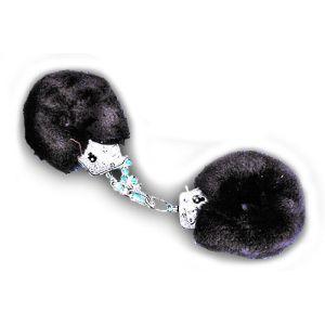 Pouta PLYŠOVÁ kovová černá